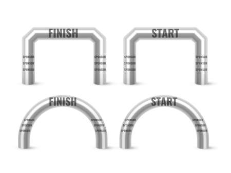 Inflatable Arch Set Isolated Vector. Place For Sponsors Advertising. Archway, Suitable For Sport Event. Marathon Racing Concept. Vector Illustration.