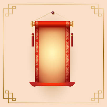Chinese scrolls. Traditional ornamental asian holiday decoration with copy space.