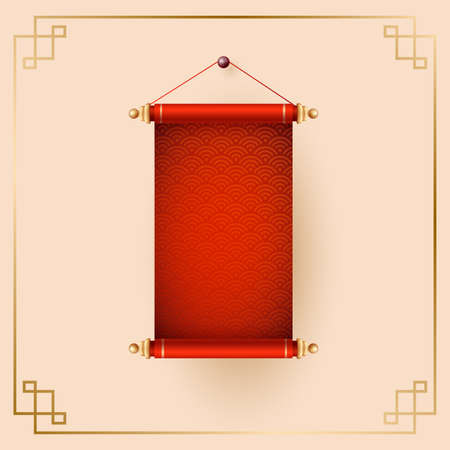 Chinese scrolls. Traditional ornamental asian holiday decoration with copy space. Stock fotó - 155730066