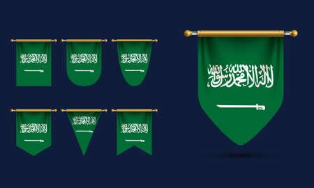 Saudi Arabia Pennant Template Vector. Realistic Illustration Vettoriali