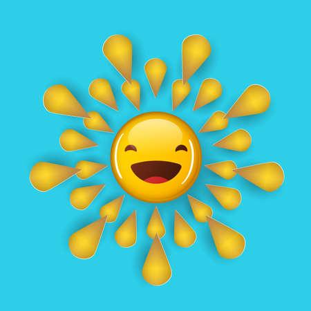 shining yellow sun. cartoon illustration