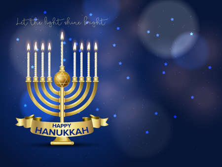 Jewish holiday Hanukkah background, realistic menorah (traditional candelabra), burning candles, bokeh effect. Vector illustration.