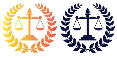 Themis Scales with Wreath. Logo in two color options. Isolated vector illustration on white background. Logo