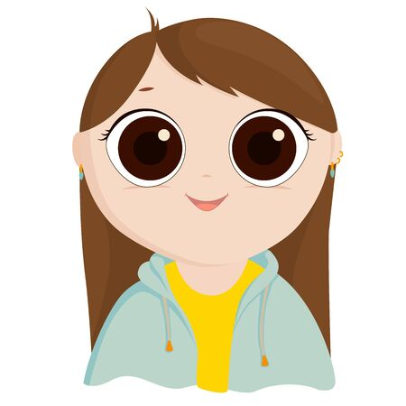 Cartoon girl in a yellow shirt and blue jacket on white background. Character with big eyes and earrings. Ilustração