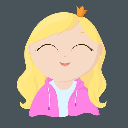 Little cartoon princess with blond hair. Happy girl in the crown. Smiling baby in a queen costume.