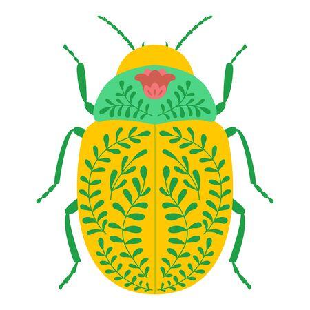 Folk art beetle. Colorado potato beetle. Isolate on white background. Illustration