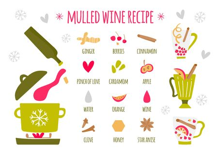 Vector illustration of mulled wine ingredients on a white background