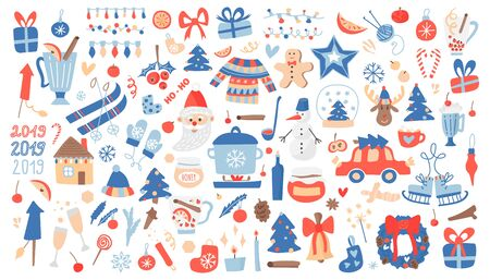 Vector mega set of Christmas and New Year elements with holiday objects and symbols. Hand drawn style, design of cards, posters, packaging.