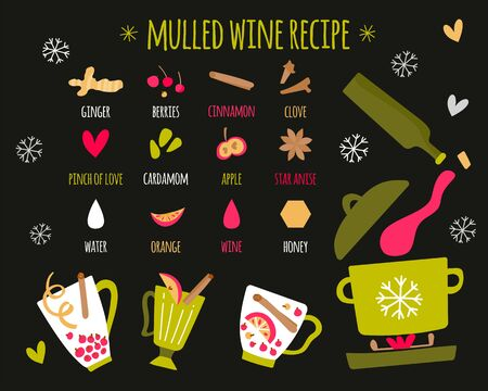 Vector illustration of ingredients for mulled wine on a dark background. Recipe with hand draw illustrations. Signatures and spices icons. Vector illustration for banner, postcard, article.