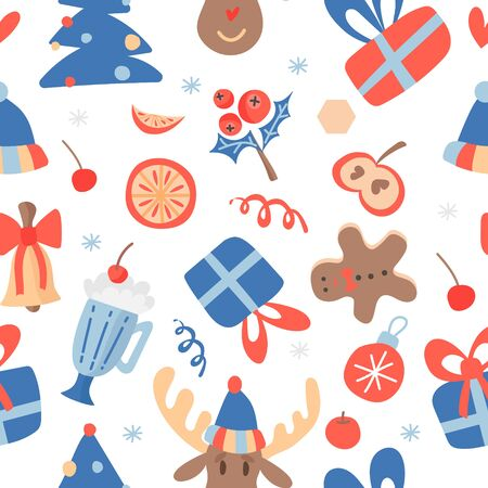 Christmas flat hand drawn seamless pattern. Merry holiday cartoon texture. Illustrations of characters and objects of the new year. Christmas sketch colored clipart. Holiday gift wrap, vector fill bac