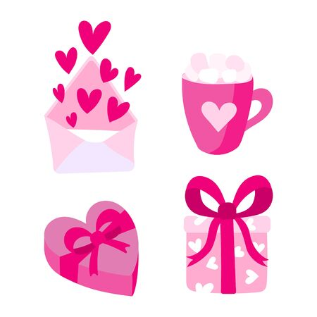 Set of vector flat valentines day illustrations. Background for greeting cards, packaging, design for a holiday, wedding, engagement. Hearts and symbols of love in pink colors. Archivio Fotografico - 134938068
