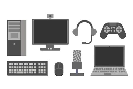 Vector set of table and gamer omputer on a white background in flat style. The design of a streamer blog or gaming esportsman. Headphones, microphone, mouse, laptop, keyboard, webcam.
