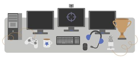 Vector set of table and gamer omputer on a white background in flat style. The design of a streamer blog or gaming esportsman.