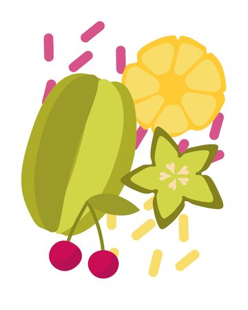 Vector illustration of an exotic mix of carambol, slices of pineapple and cherry. Dance of tropical fruits for design. Design of fruit shops, vegetarian cafes, menus, fresh fruits, dishes, recipes in flat style.