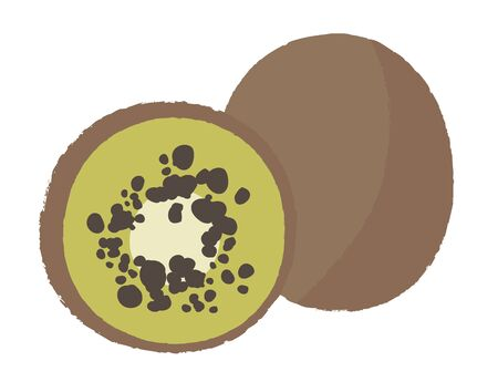 Vector illustration of a kiwi with a half on a white background. Exotic item for design in flat style.Design of fruit shops, vegetarian cafes, menus, fresh fruits, dishes, recipes in flat style.