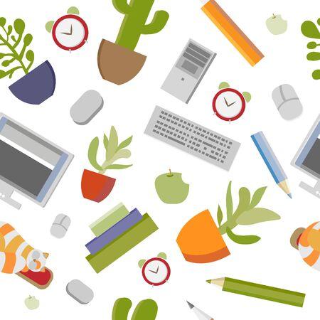 Patrón transparente de vector con papelería, computadora y gato. Diseño de portada, literatura educativa, sitio educativo. Ilustración de vector