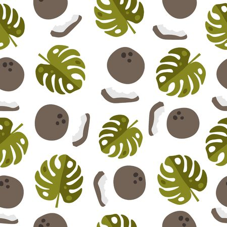 Vector seamless pattern with green leaves of monstera and coconuts on a white background. For design packaging, textile, background, design postcards and posters.Design of fruit shops, vegetarian cafes, menus, fresh fruits, dishes, recipes in flat style.