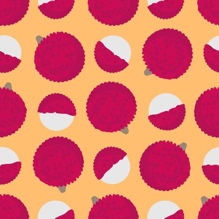 Vector seamless pattern with lychee. For design packaging, textile, background, design postcards and posters. Design of fruit shops, vegetarian cafes, menus, fresh fruits, dishes, recipes in flat style.