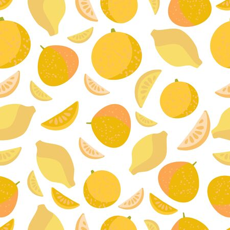 Vector seamless pattern with citruses: orange, pomelo, lemon. For design packaging, textile, background, design postcards and posters. Design of fruit shops, vegetarian cafes, menus, fresh fruits, dishes, recipes in flat style.