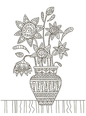 Hand drawing coloring book for children and adults. A beautiful pattern with small details for creativity. Antistress decor still life with sunflowers in vase as in the pictures of van gogh. A series of coloring pages flowers and cacti.
