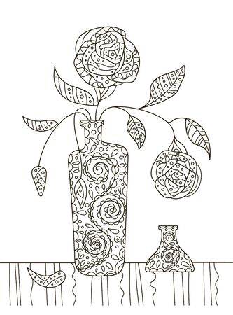 Hand drawing coloring book for children and adults. A beautiful pattern with small details for creativity. Antistress decor still life with flowers in vase. A series of coloring pages flowers and cacti. Illusztráció