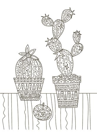 Hand drawing coloring book for children and adults. A beautiful pattern with small details for creativity. Antistress decor cacti in pots. A series of coloring pages flowers and cacti.