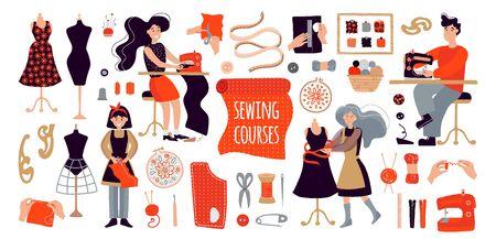 Die Leute kreieren Designerkleidung mit ihren eigenen Händen. Illustration für Nähkurse, eine Ausbildungsstätte, ein Poster mit Meisterkursen. Set von Artikeln zum Nähen und Stricken. Ein Mann, eine Frau und ein Mädchen nähen Kleidung in einem Nähkurs oder in der Freizeit, erholen sich von der Arbeit. Gruppenunterricht und modernes Hobby. Nähmaschine, Fäden, Schere, Nadel, Garn, Knöpfe, Zentimeter, Puppe, Garnrollen, Reifen. Vektorgrafik