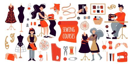 People create designer clothes with their own hands. Illustration for sewing courses, a training site, a poster with master classes. Set of items for sewing and knitting. A man, women and a girl sew clothes at a sewing course or Free time, rest from work. Group classes and modern hobby. Sewing machine, threads, scissors, needle, yarn, buttons, centimeter, manikin, spools of thread, hoop. Ilustracje wektorowe