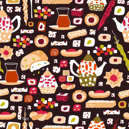Vector seamless pattern of arabic sweets and oriental tea party. Background for a card or poster for a holiday invitation. Kettle, tea and treats in cartoon flat style isolated on a dark background.