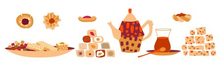 Vector set of oriental sweets and arabic tea party. Desing for a card or poster for a holiday invitation. Kettle, tea, hands and treats in cartoon flat style isolated on a white background.