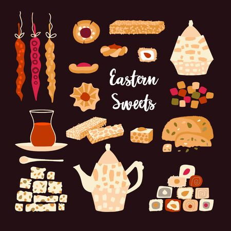 Vector set of oriental sweets and tea party. Items for design postcard or poster for a holiday invitation. Kettle, tea, hands and treats in a cartoon flat style isolated on a dark background.
