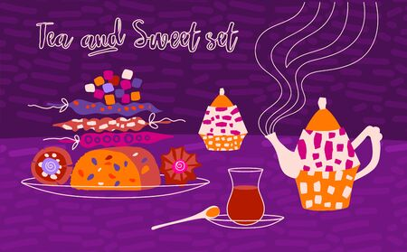 Vector horizontal illustration of arabic sweets and arabic tea party. Place for text for a card or poster for a holiday invitation. Kettle, teas treats in cartoon flat style on a purple background. Illustration