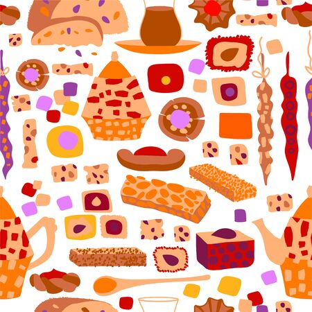 Vector seamless pattern of arabic sweets and oriental tea party. Background for a card or poster for a holiday invitation. Kettle, tea and treats in cartoon flat style isolated on a white background.