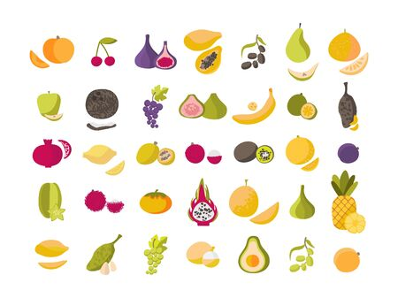 Mega set fruits and berries . Organic vegetarian healthy food isolated on a white background.For printing on eco-friendly products for vegetarians, gardeners, cooks, healthy lifestyle