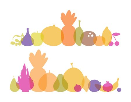 Vector colored silhouettes of vegetables translucent for background. For printing on eco-friendly products for vegetarians, gardeners, cooks, healthy lifestyle