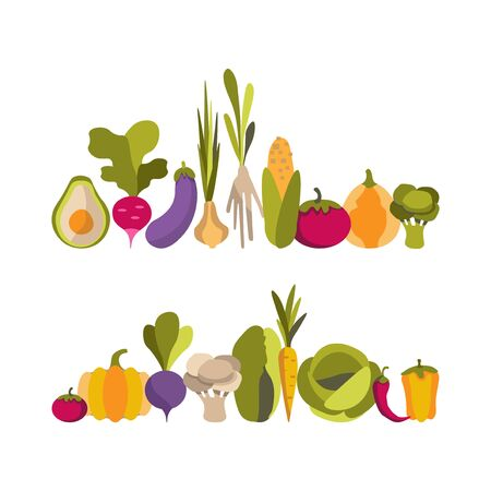 Vector set with colorful flat vegetables. Smooth ranks of healthy vegetables on a white background.For printing on eco-friendly products for vegetarians, gardeners, cooks, healthy lifestyle