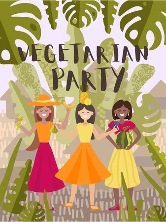 Vector illustration with girls and fruits. Poster or greeting card, invitation to a party or a party of vegans. Three multinational girls dancing in a cartoon style. For the design of eco festivals, vegan shops, vegetable fairs, eco cafe. Illusztráció