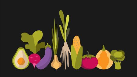 Vector colorful flat vegetables. Smooth ranks of healthy vegetables on a dark background.For printing on eco-friendly products for vegetarians, gardeners, cooks, healthy lifestyle Vektorgrafik