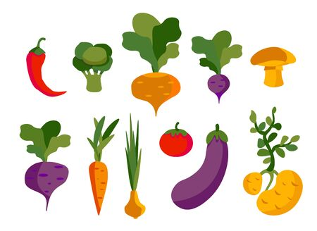 Set of vector vegetables, healthy food for vegans from the vegetable garden.For printing on eco-friendly products for vegetarians, gardeners, cooks, healthy lifestyle Ilustracja