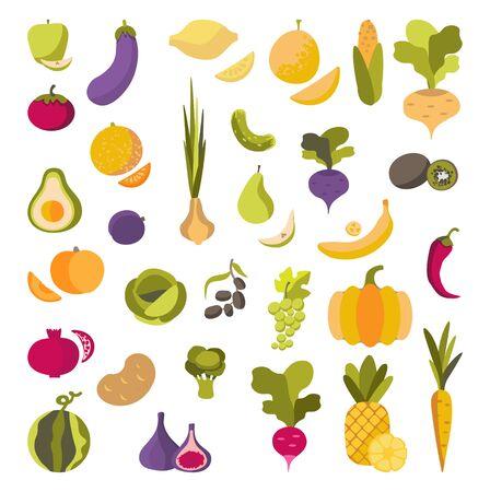 Vektorsatz Obst und Gemüse. Bio-Lebensmittel im flachen Stil auf weißem Hintergrund isoliert. Aufkleber, Symbole, Design für Öko-Produkte, vegetarisches Menü. Zum Bedrucken von umweltfreundlichen Produkten für Vegetarier, Gärtner, Köche, gesunde Lebensweise