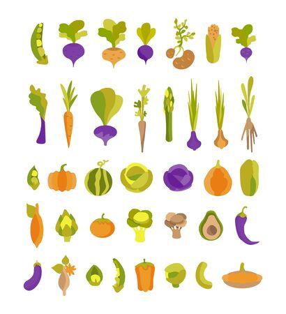 Vektorsammlung mit bunten Gemüsekartoffeln, Avocado, Artischocke, Süßkartoffel und anderen. Set mit 37 Illustrationen für Veganer, Gärtner, Restaurant, Gemüsehändler, Druck. Zum Bedrucken von umweltfreundlichen Produkten für Vegetarier, Gärtner, Köche, gesunde Lebensweise
