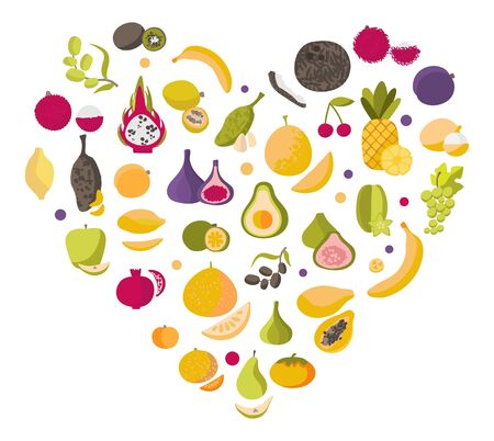 Vector colorful heart made up of fruits Heart made of healthy vegetables on a white background. For printing on eco-friendly products for vegetarians, gardeners, cooks, healthy lifestyle Иллюстрация