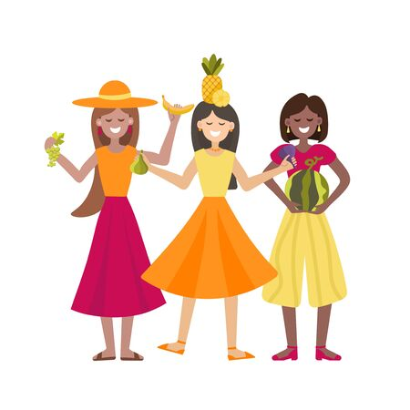 Vector illustration with girls and fruits.Three multinational girls dancing in a cartoon style. For the design of eco festivals, vegan shops, vegetable fairs, eco cafe Иллюстрация