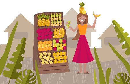 Vector illustration of a girl at the market with fruits. For the design of eco festivals, vegan shops, vegetable fairs, eco cafe.
