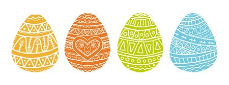 Vector coloring book for adults and children with four easter eggs with doodle pattern. White doodle symbols of a happy holiday on white background. Green, yellow, orange and violet egg with white ornament in hand draw style. Ilustração