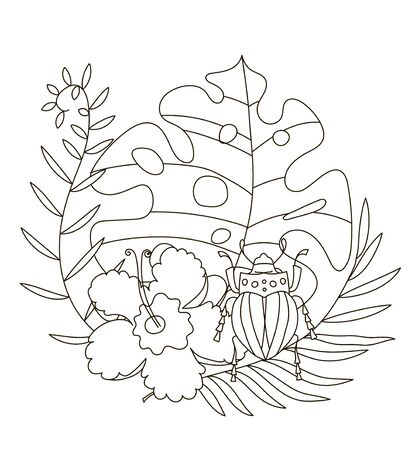Hand drawing coloring pages for children and adults. A beautiful illustration for creative coloring with paints and pencils. Coloring book with tropical flowers, monstera, palm, beetle, scarab.