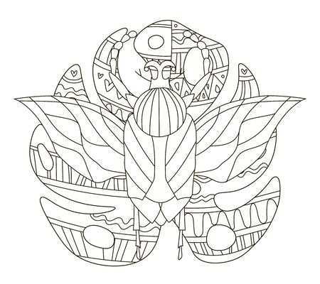 Hand drawing coloring pages for children and adults. A beautiful pattern with small details for creativity. Antistress coloring book with tropical beetle on monstera leaf. Stockfoto - 139377190