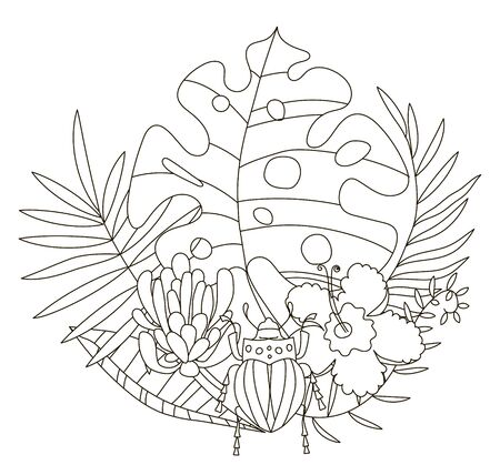 Hand drawing coloring pages for children and adults. A beautiful illustration for creative coloring with paints and pencils. Coloring book with tropical flowers, monstera, palm, beetle, protea, scarab. Illustration