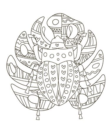 Hand drawing coloring pages for children and adults. A beautiful pattern with small details for creativity. Antistress coloring book with tropical beetle on monstera leaf.
