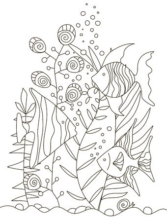 Hand drawing coloring pages for children and adults. A beautiful pattern with small details for creativity. Antistress coloring book with tropical fish, algae, ocean, underwater world.